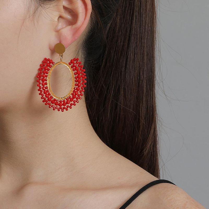 New fashion earrings ethnic style boho style oblate geometric earrings rice beads earrings for women wholesale NHJJ208775