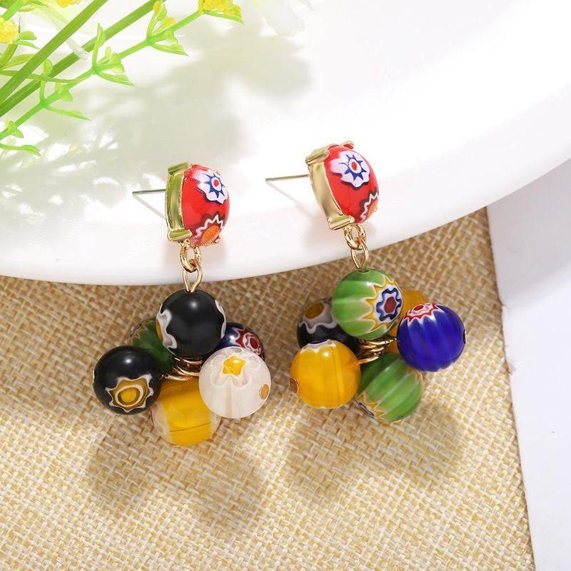 New bohemian ball print painted earrings for women wholesale NHJQ208787