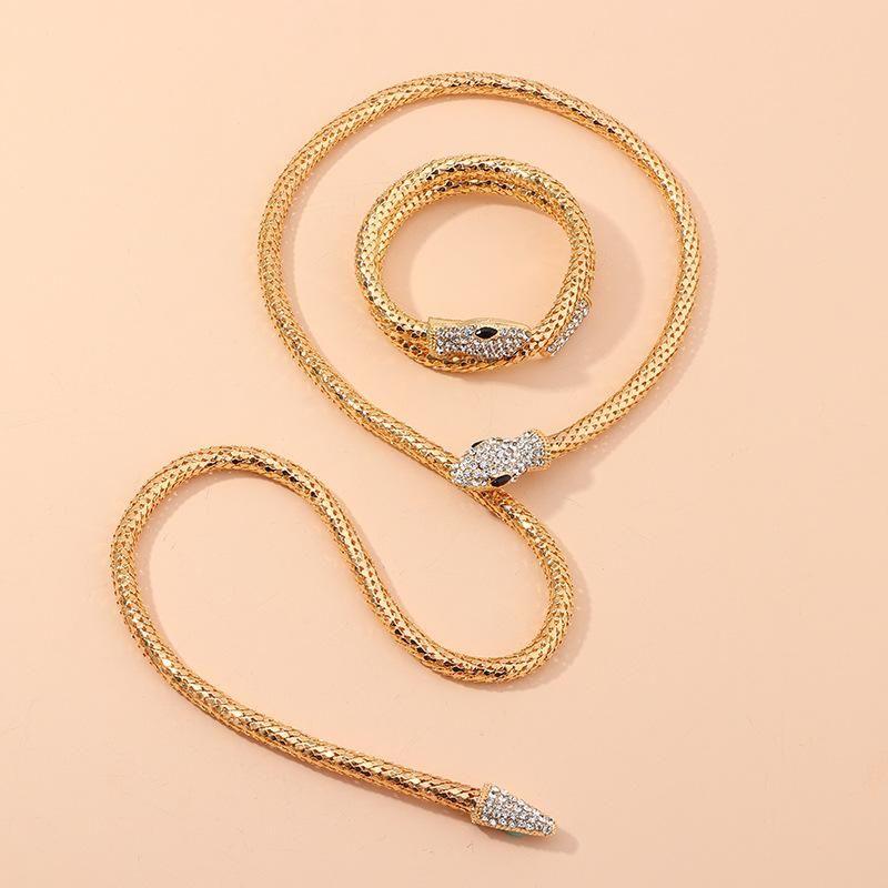 Nouvelle mode rtro mode esprit serpent diamant collier collier serpentine bracelet bracelet en gros NHNZ208817