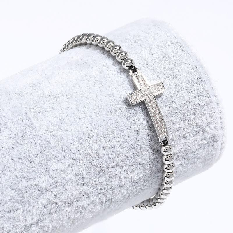 New fashion rhinestone cross copper plated real gold bead string black rope hand-woven bracelet wholesale NHJE208844