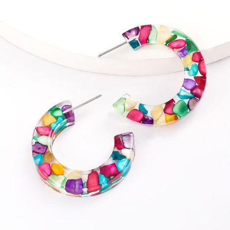 New fashion C-shaped inlaid color turquoise acetate plate earrings for women wholesale NHJE208849's discount tags