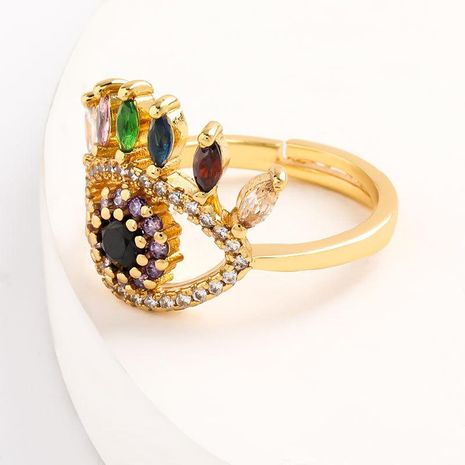 New fashion eye copper micro-set color zircon ring wholesale NHJE208851's discount tags