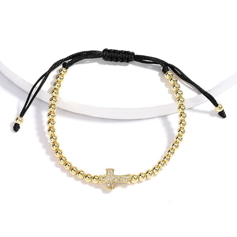 New fashion rhinestone cross copper plated real gold bead string black rope braided bracelet wholesale NHJE208864