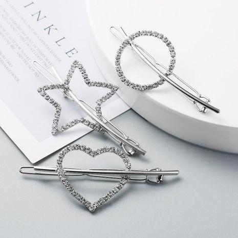 Korean new creative diamond hair clip alloy heart-shaped lady headdress simple hollow cheap side clip NHLN208870's discount tags
