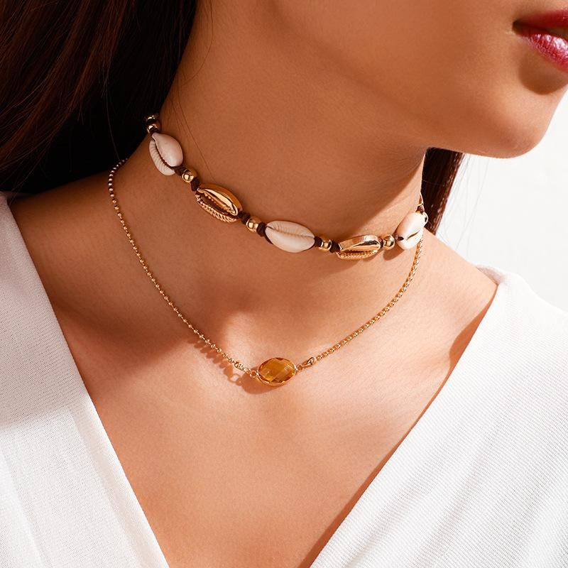 New Fashion Crystal Natural Shell Necklace Knotted Woven Alloy Double Layer Jewelry Wholesale NHGY208875
