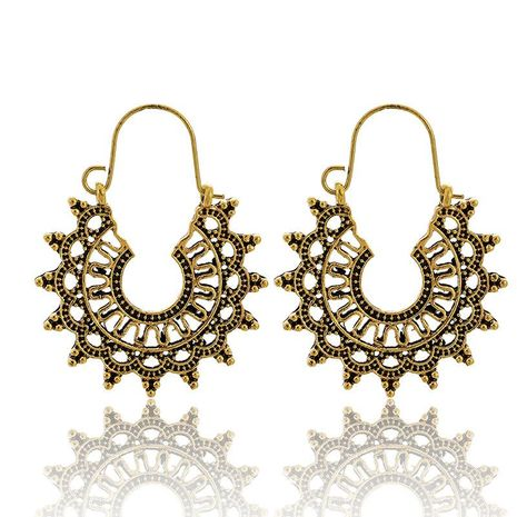 New fashion bohemian ethnic style hollow half moon earrings for women wholesale NHGY208879's discount tags