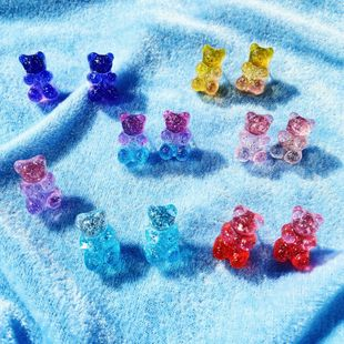 New fashion colorful jelly bear candy color earrings retro simple earrings NHPJ208893's discount tags