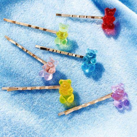 Nueva moda jelly bear candy color horquilla creativo retro simple barato clip lateral NHPJ208897's discount tags
