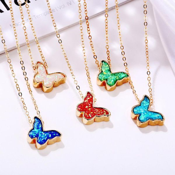 New multicolor butterfly necklace creative retro simple color alloy clavicle chain NHPJ208900