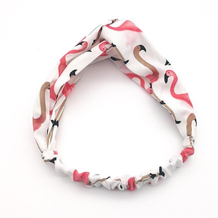 New flamingo print cross simple hair band seaside vacation headdress headband headband NHSA201224