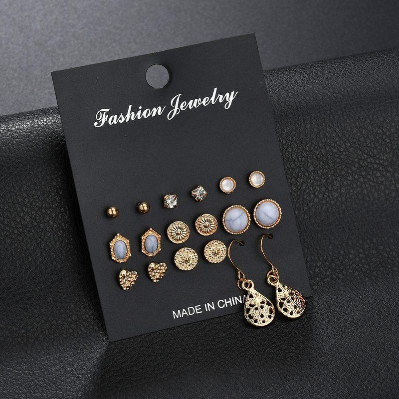New fashion retro turquoise earrings love rhinestone 9 pairs of earrings set NHDM208933
