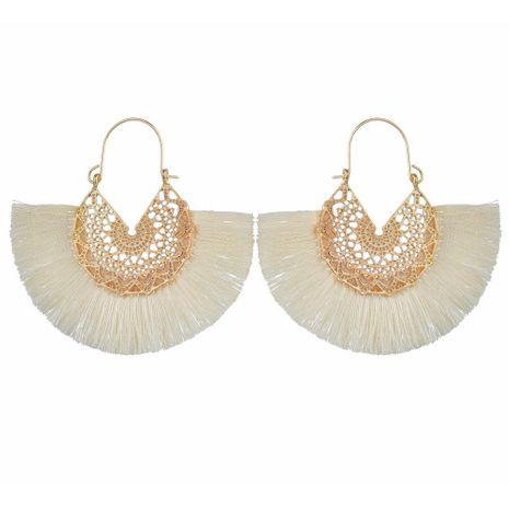 New fashion retro hollow alloy fan-shaped earrings simple silk thread tassel semicircular earrings NHDM208936's discount tags