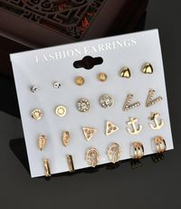 New fashion love v-shaped crystal diamond frosted ball 12 pairs of earrings set for women wholesale NHDM208938