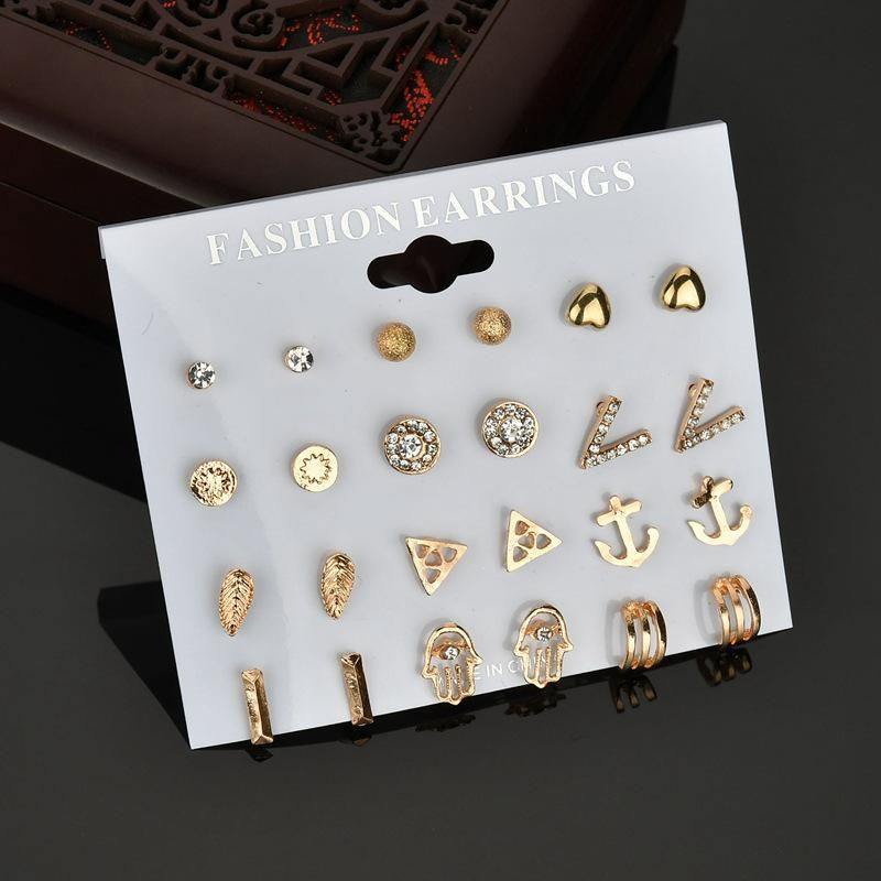 New fashion love vshaped crystal diamond frosted ball 12 pairs of earrings set for women wholesale NHDM208938