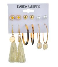 New fashion creative natural shell earrings bohemian tassel earrings set for women wholesale NHDM208940
