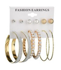 New fashion exaggerated pearl large circle earrings 6 pairs of matte diamond earrings set for women NHDM208941