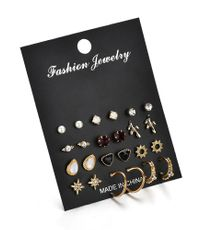 New fashion 12 pairs of earrings simple wild rhinestone pearl geometric earrings for women wholesale NHDM208942