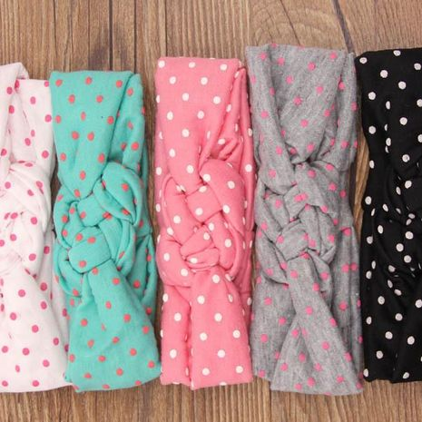 New European and American Polka Dot Cross Hairband Children Baby Weave Twist Peaceful Knot Hair Hoop Infant Hair Accessories Wholesale NHDM208962's discount tags