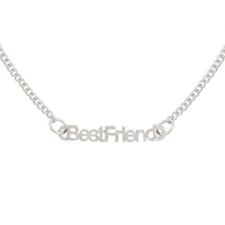 New Fashion Best Friends English Alphabet Necklace Environmental Protection Color Preservation Electroplated Gold Silver Black Clavicle Chain Wholesale NHMO208996's discount tags