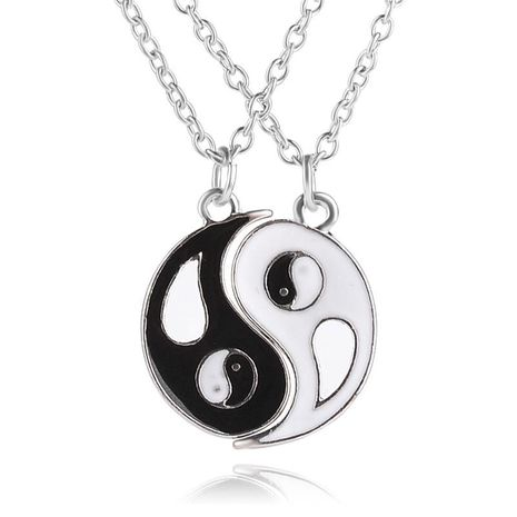 New round oil drop pendant necklace engraved letters Best Friends Tai Chi gossip good friend necklace NHMO209059's discount tags