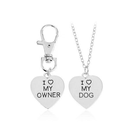 Nouveau collier pendentif d'amour j'aime mon propriétaireJ'aimeMon chien chien collier d'os de chien en gros NHMO209060's discount tags