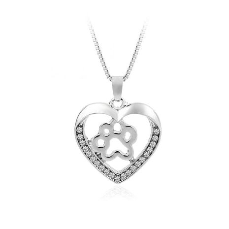 New fashion love peach heart necklace love dog paw hollow diamond pendant necklace wholesale NHMO209070's discount tags