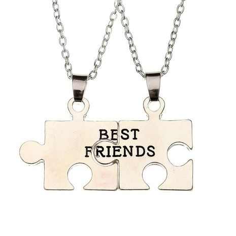 New fashion puzzle drop oil alphabet necklace best friends good friends girlfriends two petal stitching necklace wholesale NHMO209082's discount tags