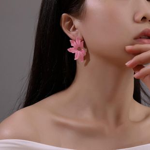 Korean new fashion flower sweet color three-dimensional petal earrings for women wholesale NHMO209098's discount tags