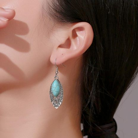 New fashion national style carved hollow earrings retro turquoise geometric earrings wholesale NHMO209100's discount tags