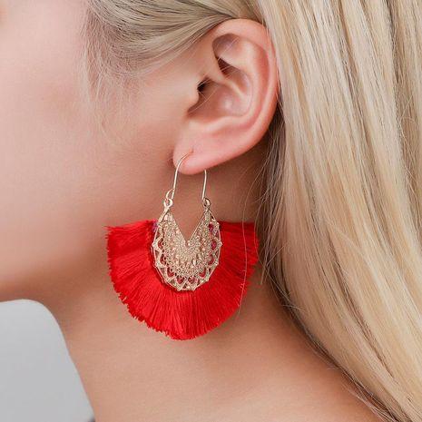 Nouvelle mode rétro exagéré en forme d'éventail en dentelle motif gland boucles d'oreilles en gros NHMO209105's discount tags