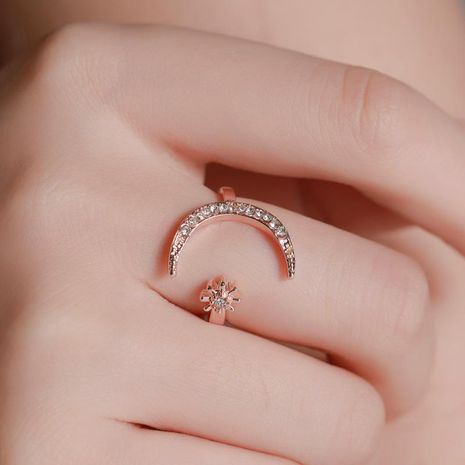 New fashion star moon index finger open ring crescent ring star moon ring wholesale NHMO209116's discount tags