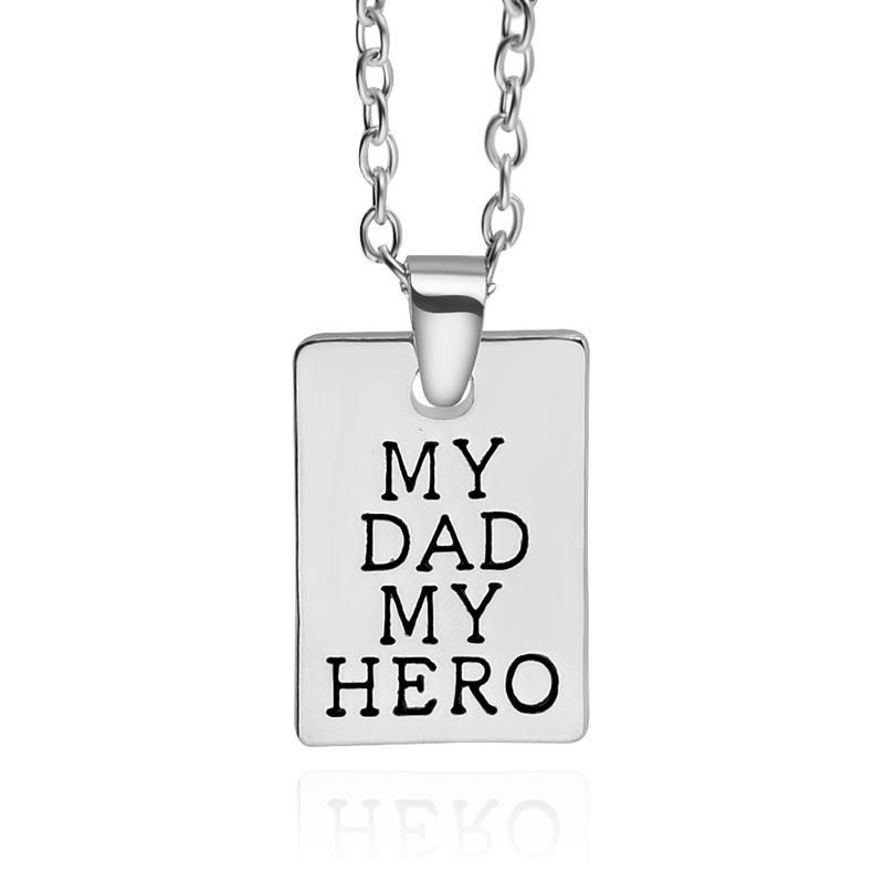 New Fashion Geometric Square Pendant Necklace Father's Day Necklace Tag Necklace Wholesale NHMO209129