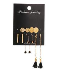 New simple 5 pairs of round disc geometric earrings tassel suit earrings wholesale NHMO209153