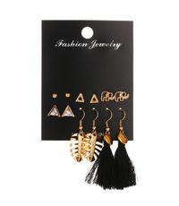 New fashion triangle elephant earrings set leaf tassel earrings fashion 6 pairs of earrings NHMO209159