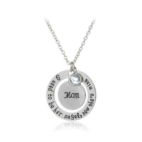 New Fashion Geometric Round Letter Tag Necklace Mother's Day Gift Round Wisdom Pendant Necklace Wholesale NHMO209170's discount tags