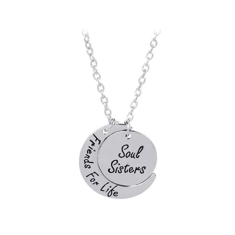 Soul Sisters Friends For Life star moon necklace NHMO209173