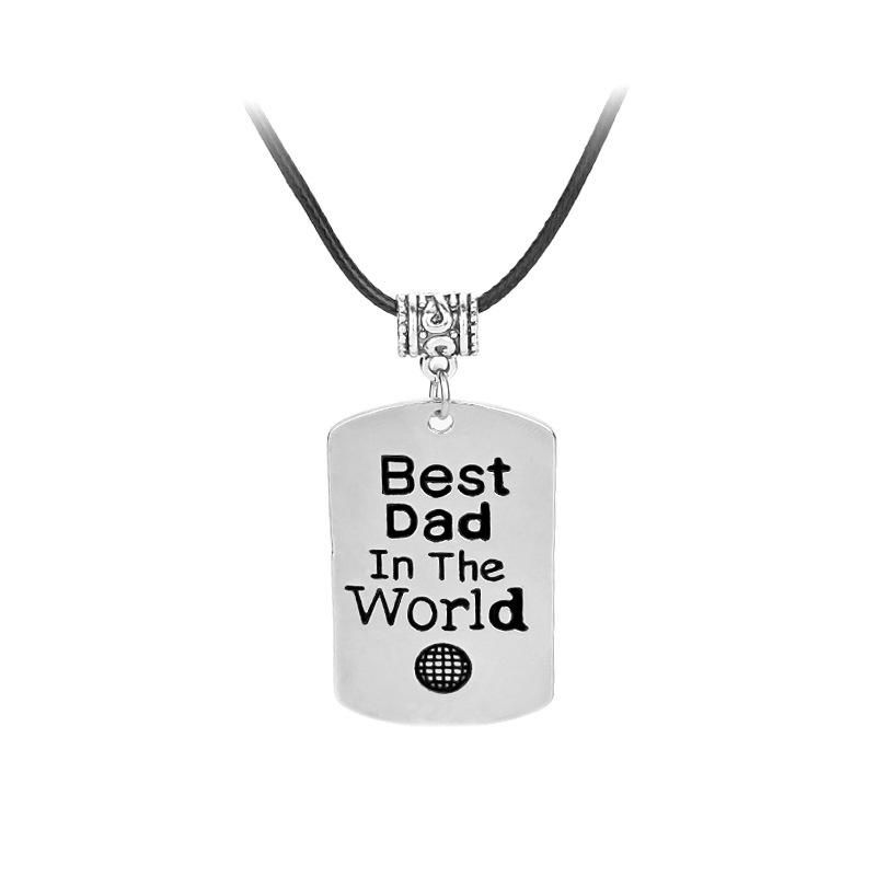 New drop oil letter tag necklace Best Dad In The World retro men39s necklace wholesale NHMO209178