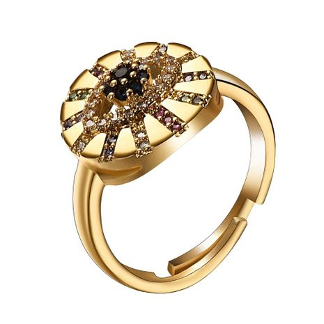 New fashion devil's eye micro-inserted zircon hollow round adjustable ring wholesale NHMD209184's discount tags