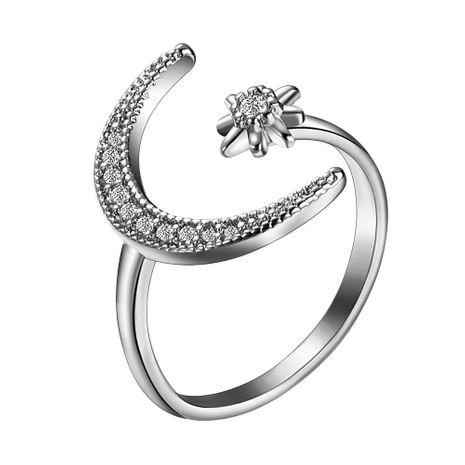 Nueva moda micro-set circón anillo abierto creativo geométrico estrella media luna anillo al por mayor NHMD209199's discount tags