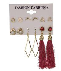 New geometric creative triangle alloy earrings long tassel earrings set for women wholesale NHMD209200