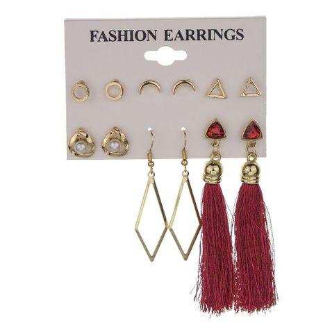 New geometric creative triangle alloy earrings long tassel earrings set for women wholesale NHMD209200's discount tags