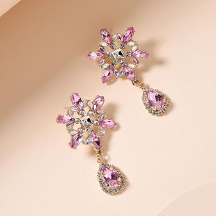 Korean new fashion colored diamond earrings full diamond S925 silver needle sun flower earrings for women wholesale NHMD209206's discount tags