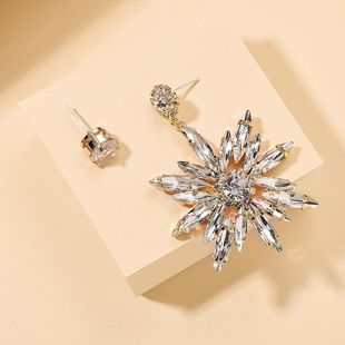 Korean new fashion full diamond sun flower earrings S925 silver needle earrings for women wholesale NHMD209211's discount tags