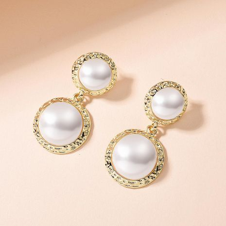 Korean new fashion S925 silver needle earrings wild geometric round pearl earrings for women wholesale NHMD209215's discount tags