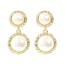 Korean new fashion S925 silver needle earrings wild geometric round pearl earrings for women wholesale NHMD209215