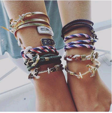 Simple metal anchor braided multi-layer bracelet yiwu nihaojewelry wholesale NHSC209565