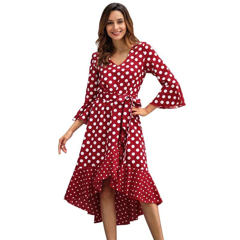 New spring fashion polka dot long-sleeved plus size dress wholesale NHKA209238