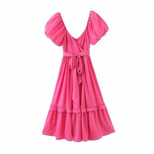 Wholesale spring new fashion holiday super fairy rose red bubble sleeve belt dress NHAM209344's discount tags