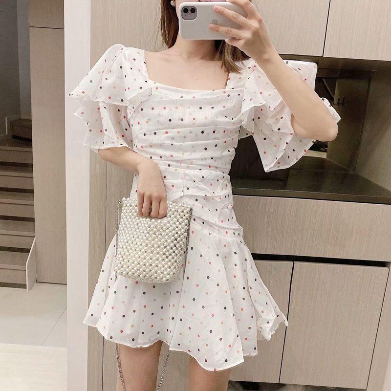Summer new women's lotus leaf sleeves waist polka dot print dress skirt NHAM209385