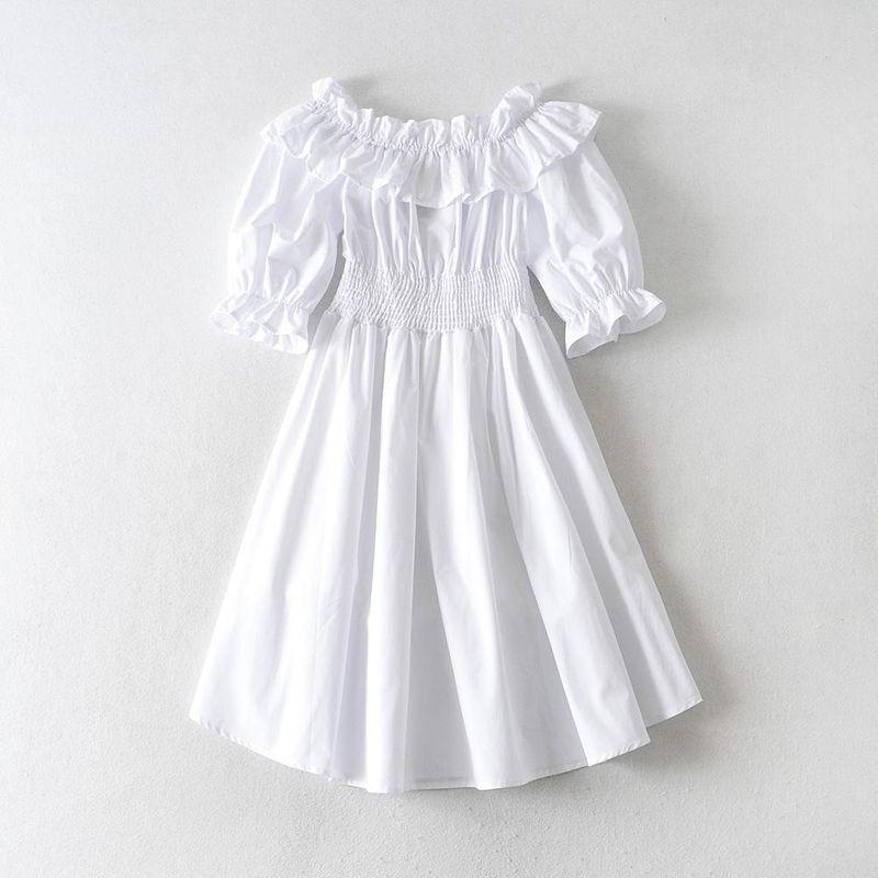 Wholesale New Fashion Ruffled Elasticated Shoulder Waist Dress Strapless Long Skirt NHAM209411